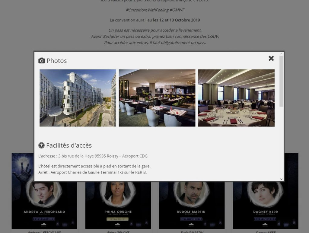 Capture d'écran de la popin d'information sur le lieu de l'événement