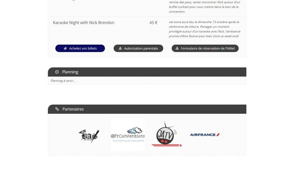 Capture d'écran d'une page d'événement