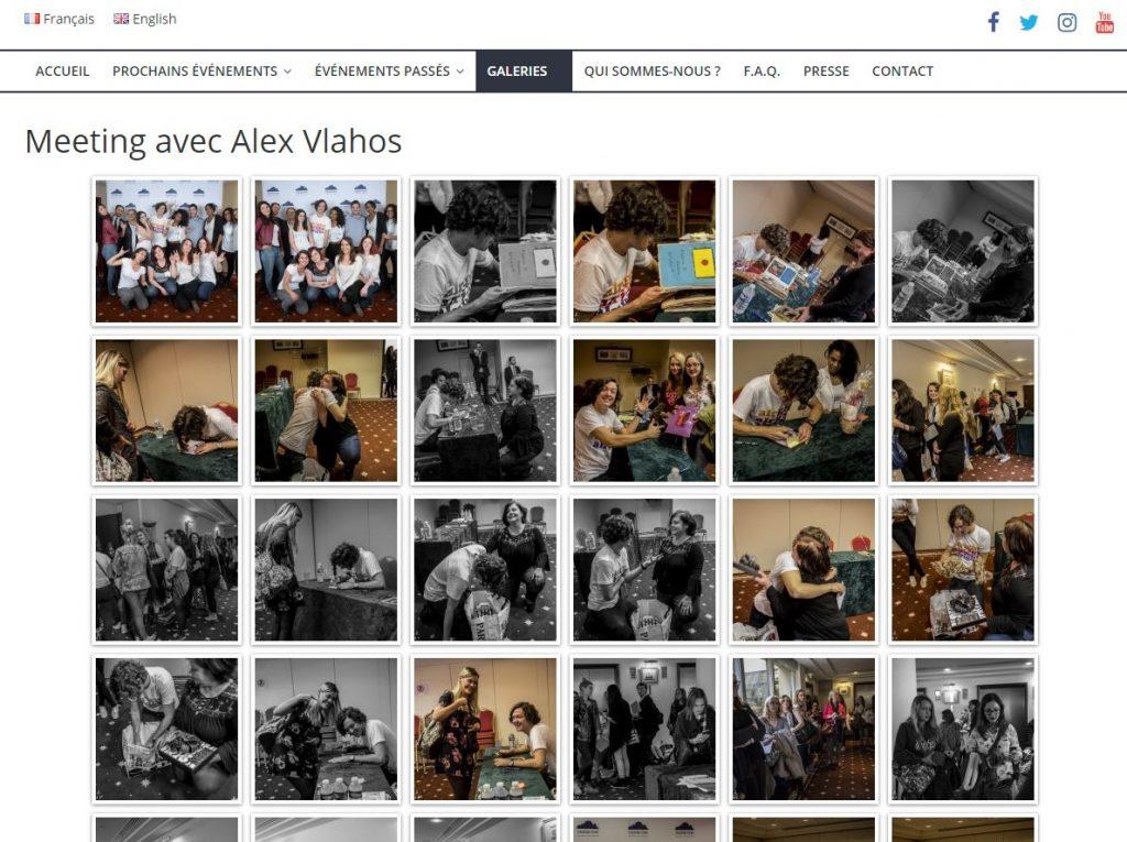 Capture d'écran d'une page de galerie photos