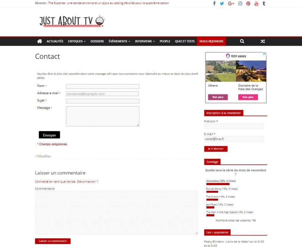 Capture d'écran de la page de contact