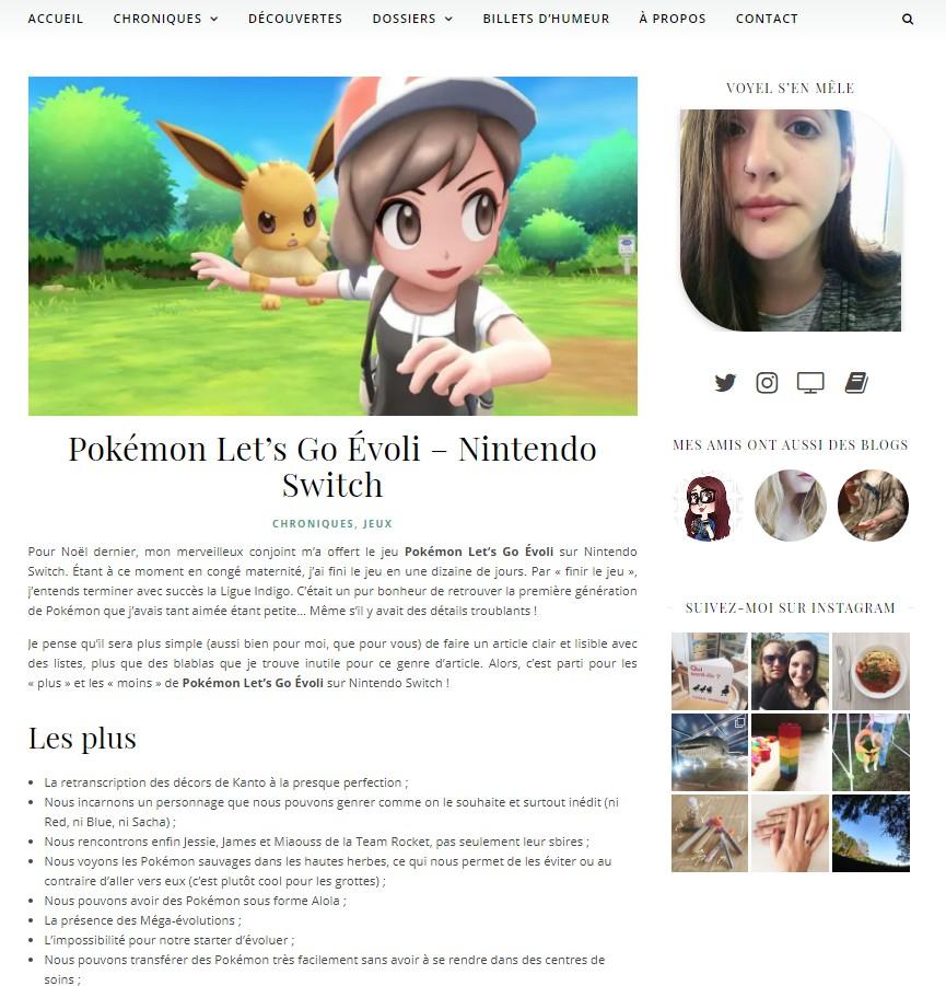 Capture d'écran d'un article