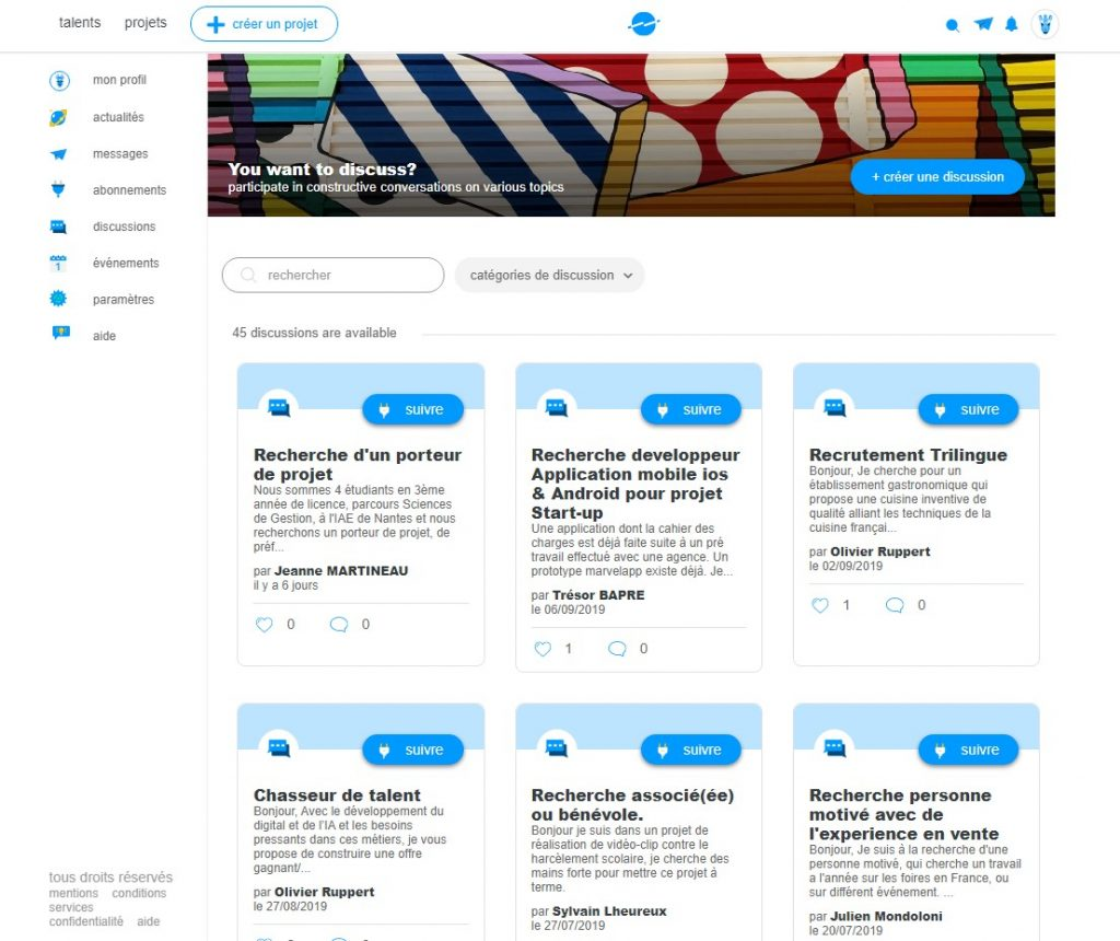 Capture d'écran de la page des discussions