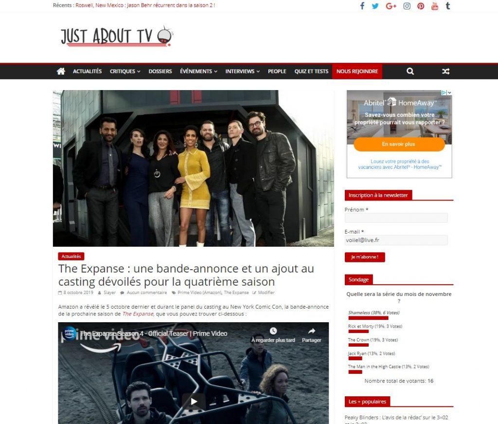 Capture d'écran d'une page d'actualité