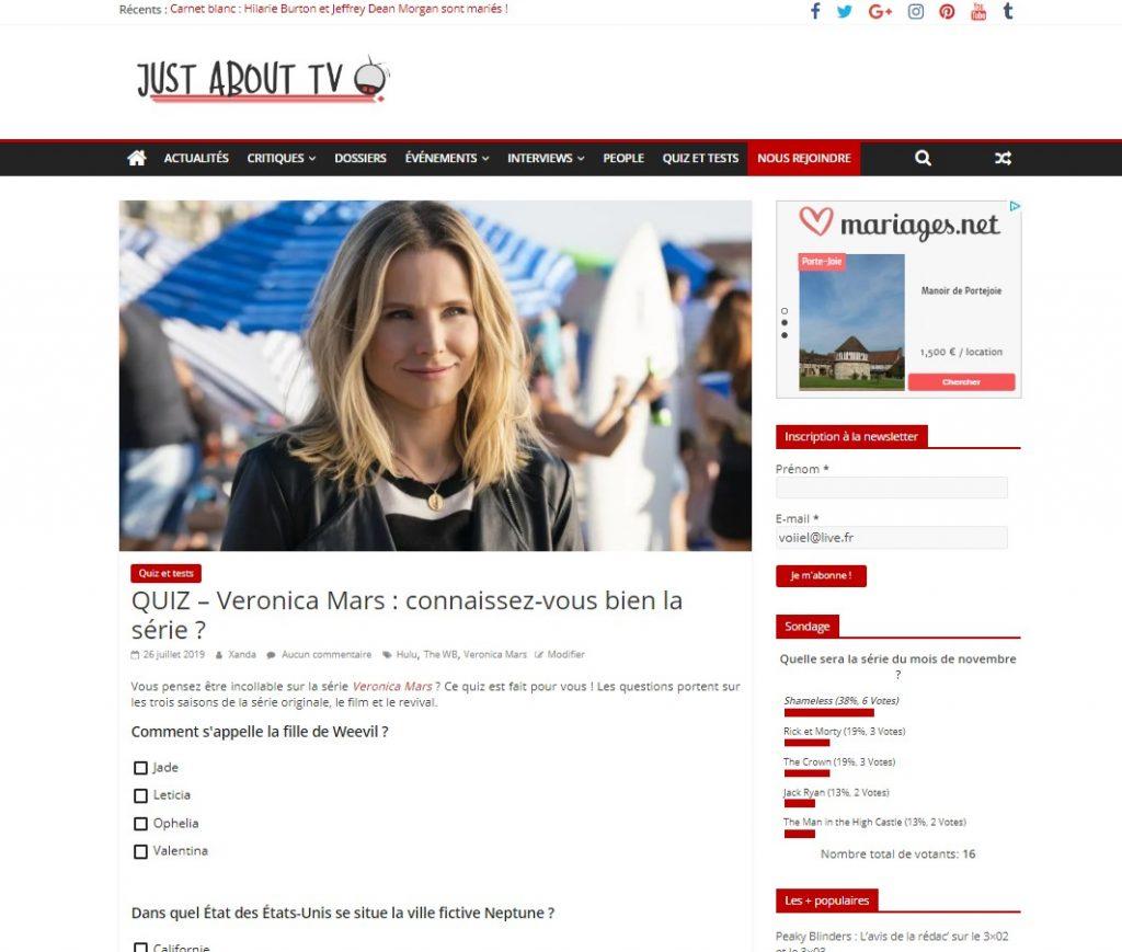 Capture d'écran d'une page de quiz
