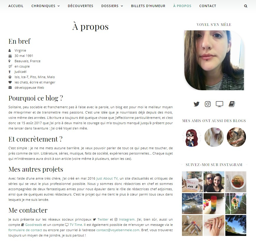 Capture d'écran de la page à propos
